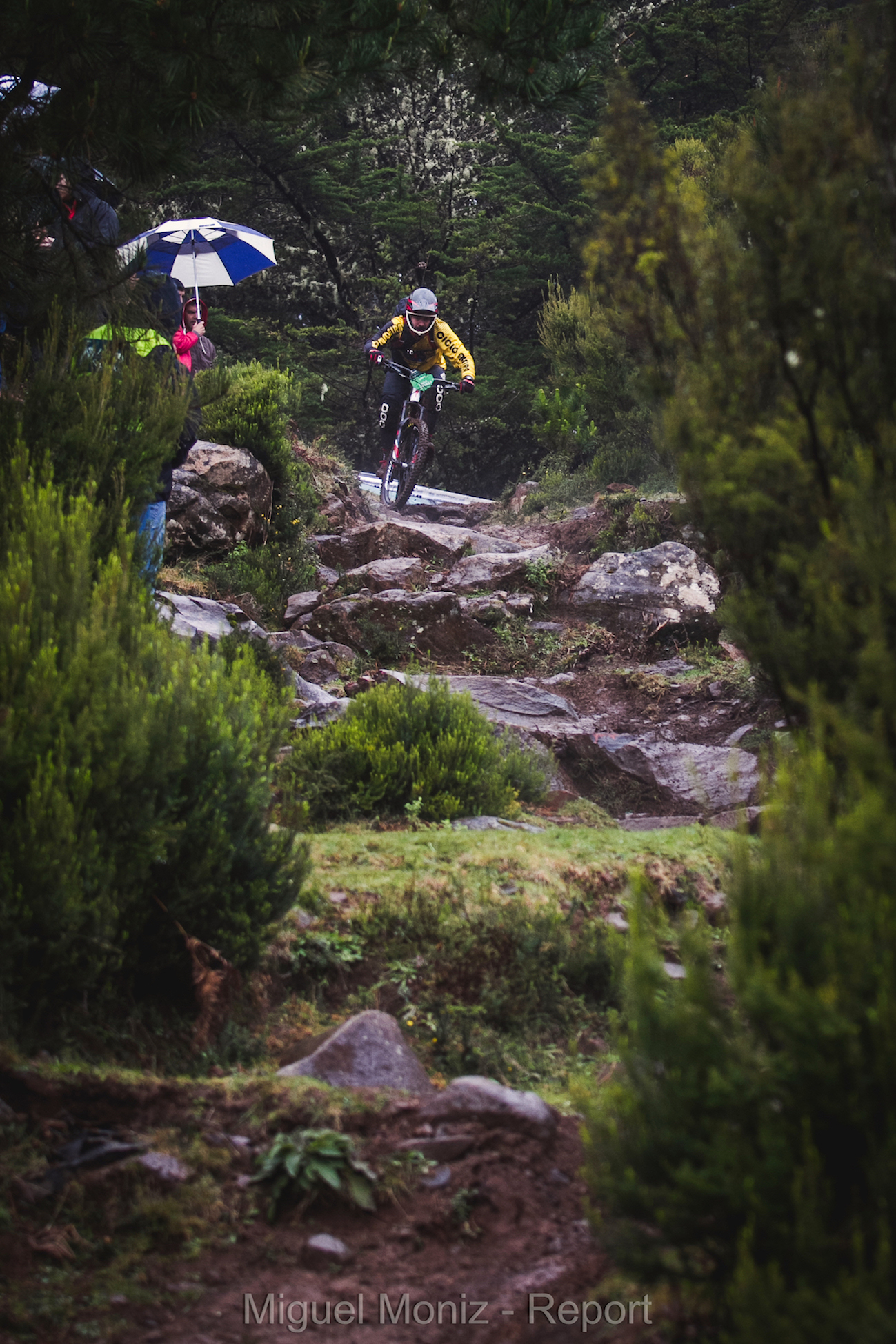 Imagine you on a race, everyone's looking, it's raining and you wanna look cool, suddenly this trail section comes up..